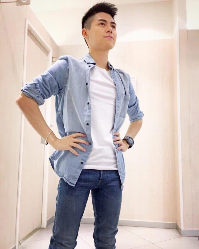 Blue overshirt, white tee,and blue jeans