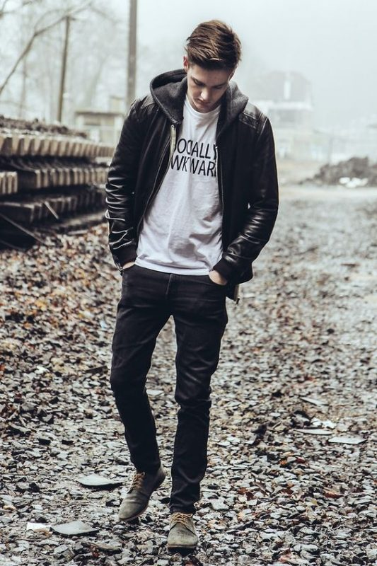 Hoodie leather jacket, white tee, dark jeans and grey suede shoes