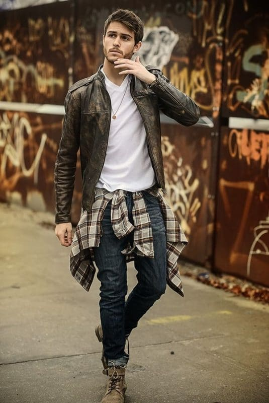 Leather biker jacket, white tee, jeans, checked shirt and boots