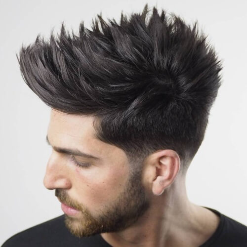 Men low fade, spiky hairstyle