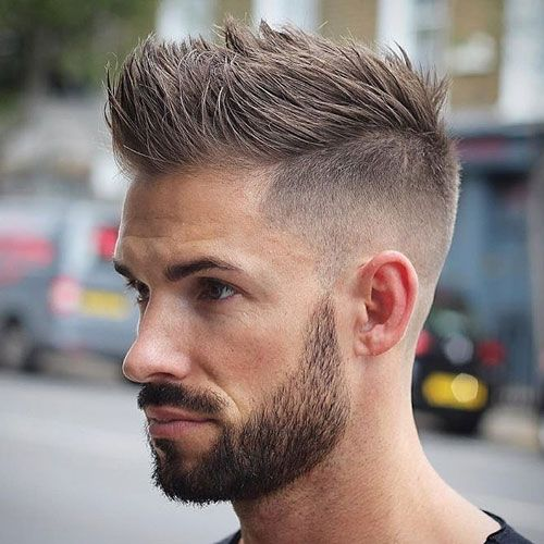 Men high fade, spiky hair