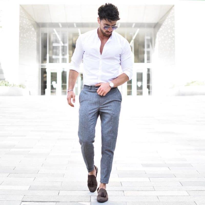 White shirt, wool pants, and espadrilles