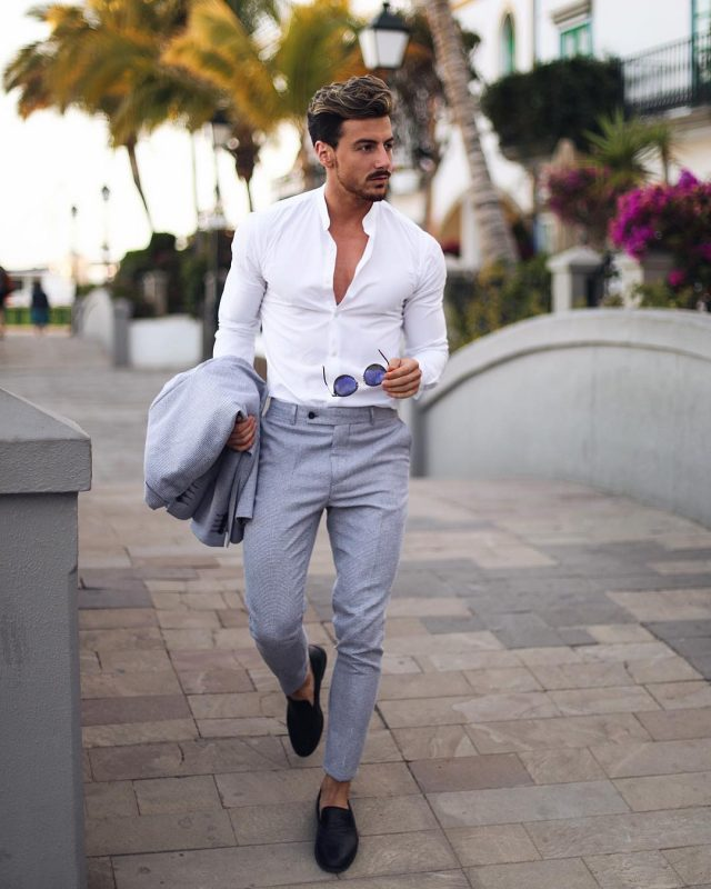 White shirt, wool pants and slip on shoes
