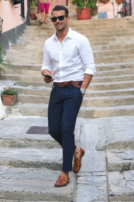 White shirt, blue checked dress pants,braided leather belt and monk strap shoes