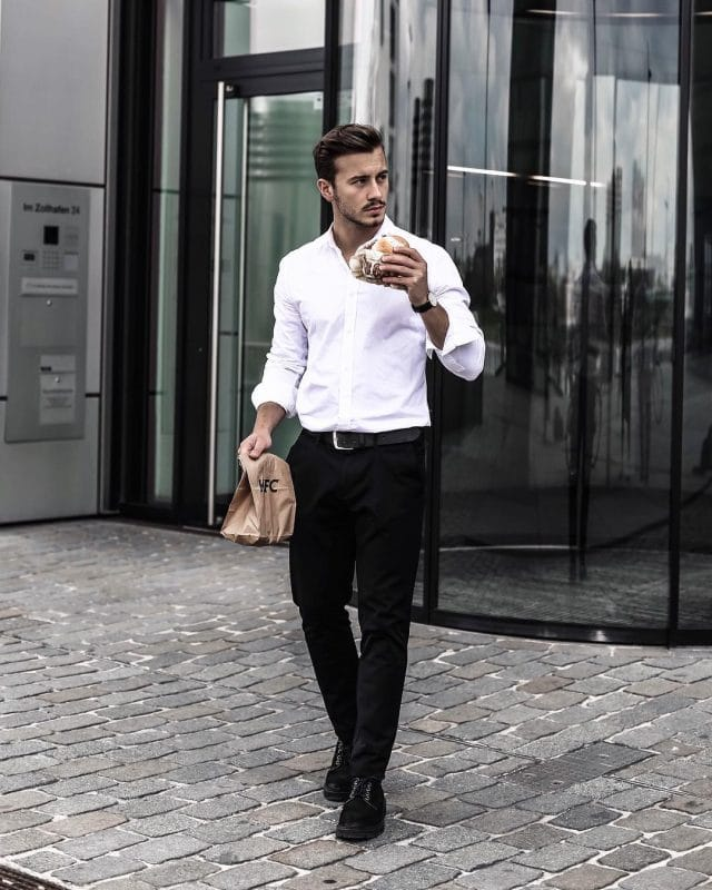 White shirt, black dress pants, and derby leather shoes