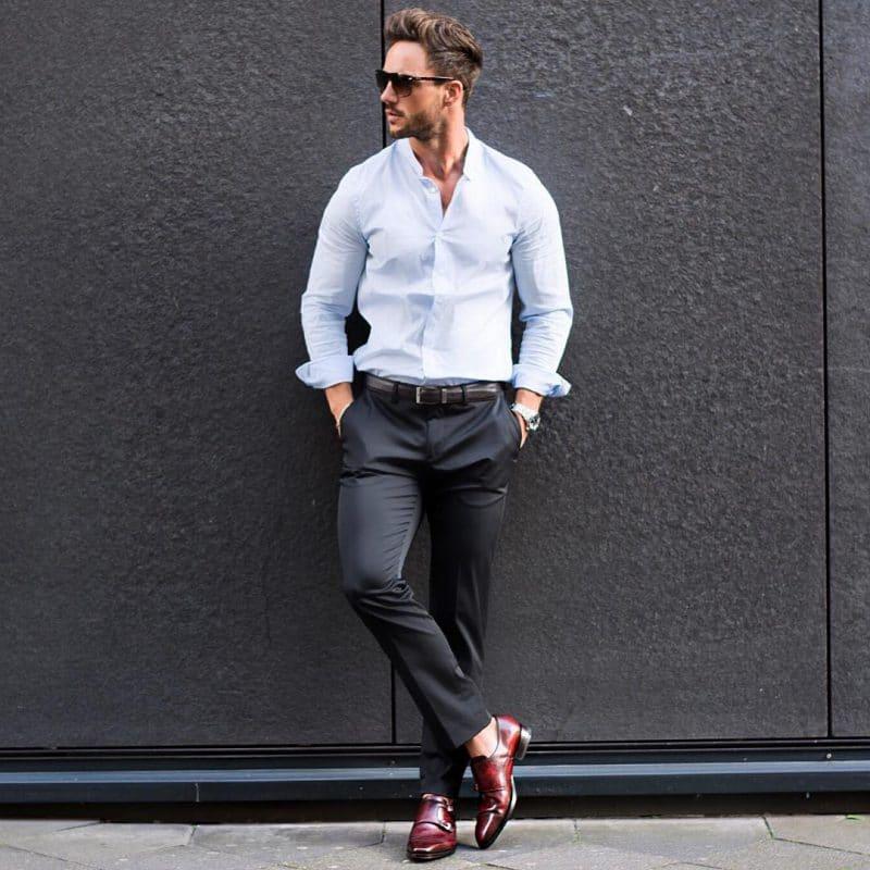 Light blue shirt, leather belt, dress pants, double monk strap shoes