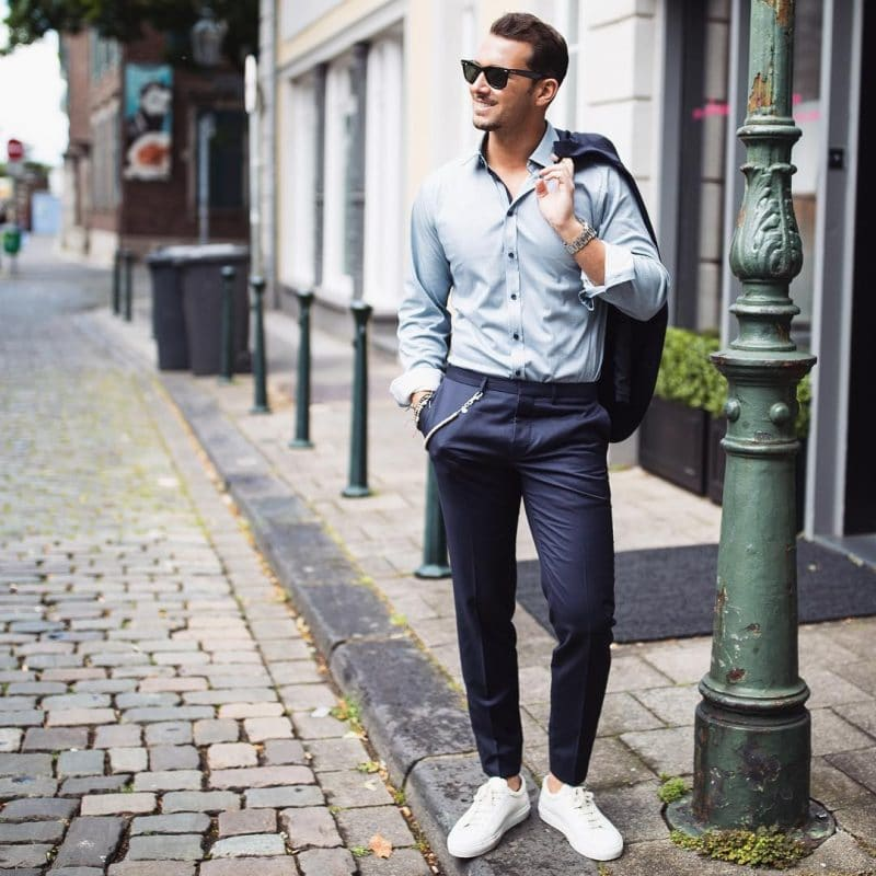 Bluish gray shirt, blue suits, and white sneaker