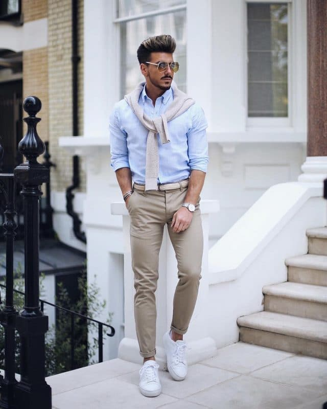 Light blue shirt, chinos pants, and white sneaker