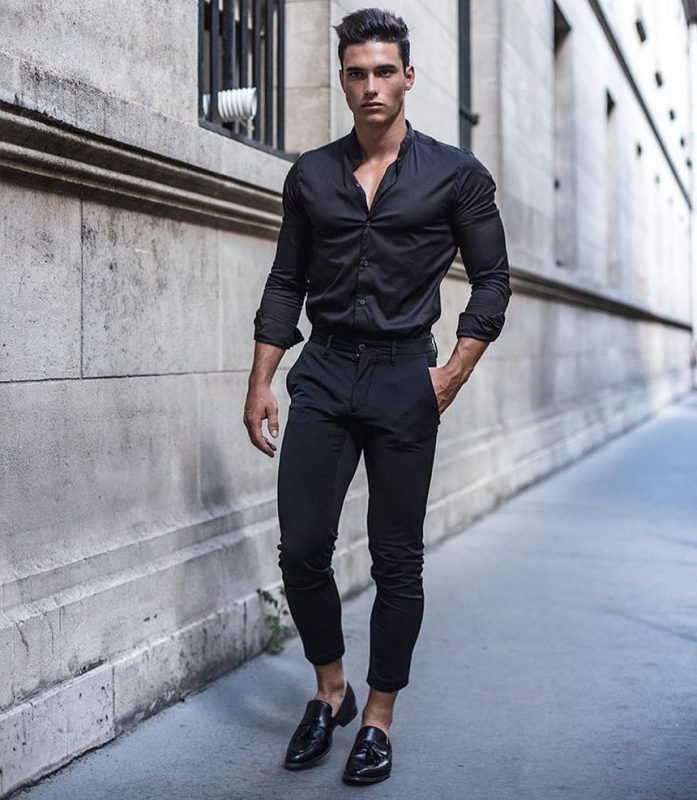 Dark shirt, dark dress pants, and loafers
