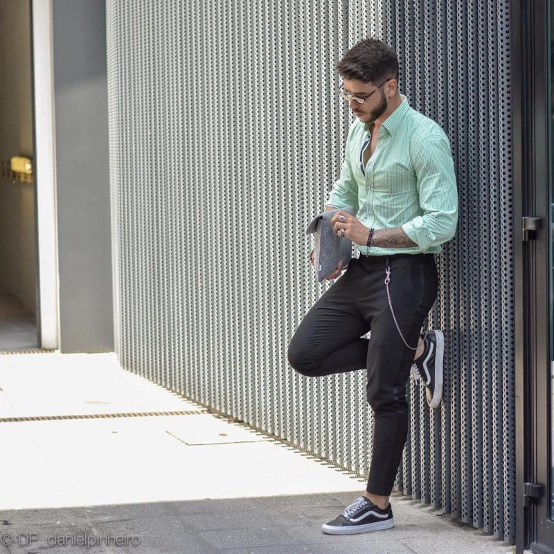 Green pinstripe shirt, dress pants and sneaker