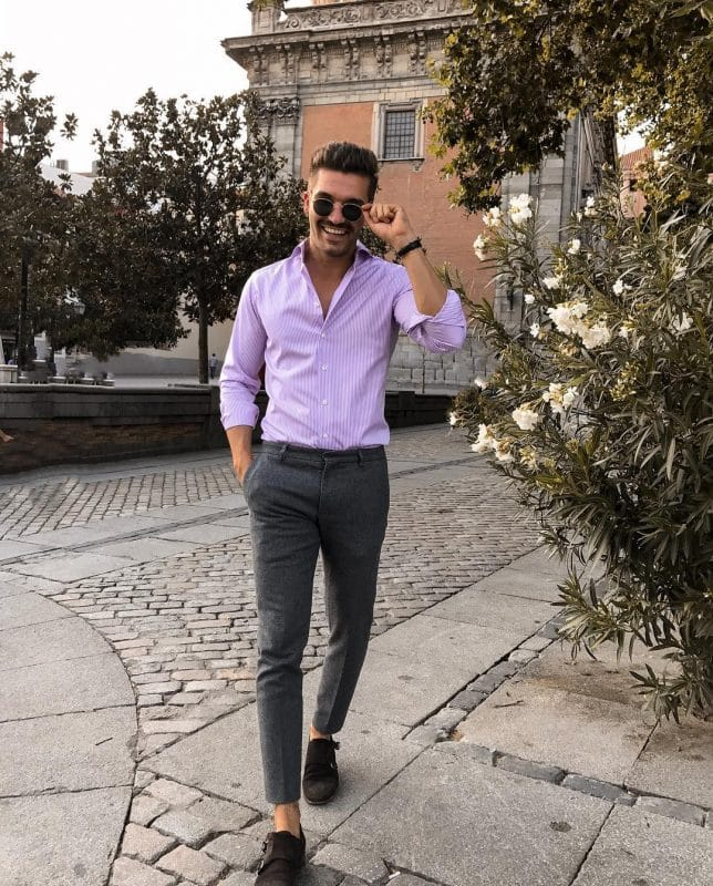 Purple pinstripe shirt, wool pants, and double monk strap shoes