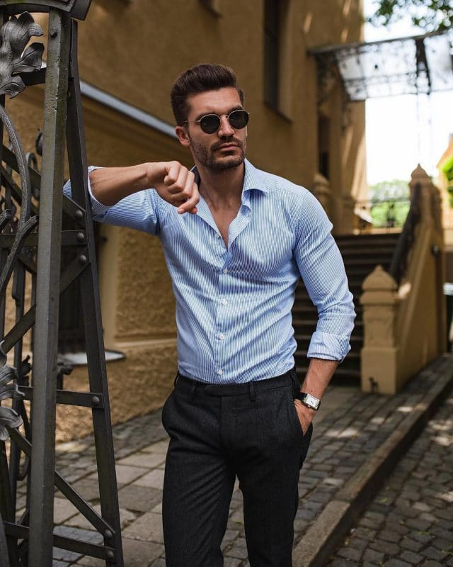 Blue pinstripe shirt and dark wool pants