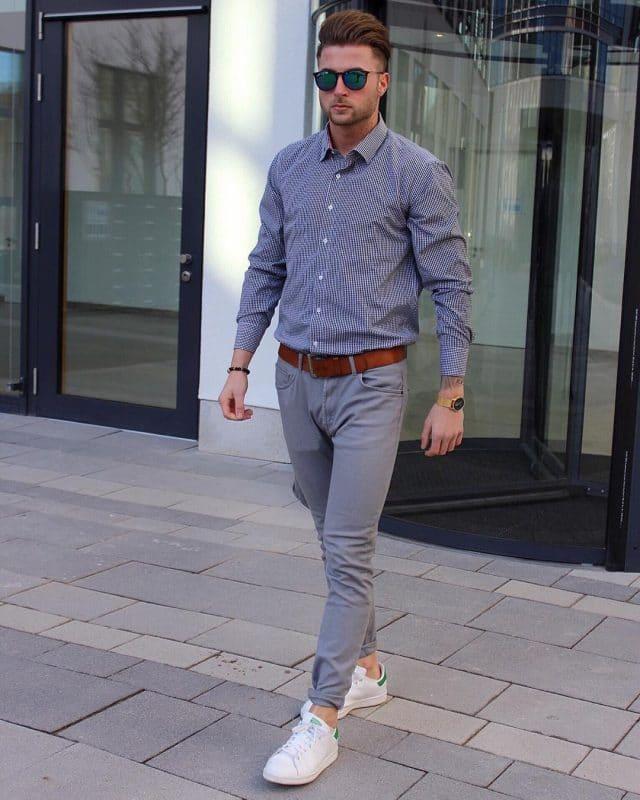 Checked shirt (small square), gray khaki pants, and white sneaker