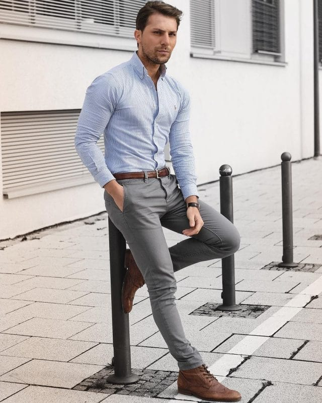 Pinstripe shirts, gray jeans and brown wingtip boots