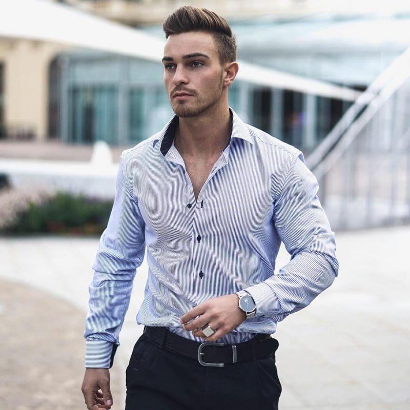 Pinstripe shirt, leather belt, and dress pants