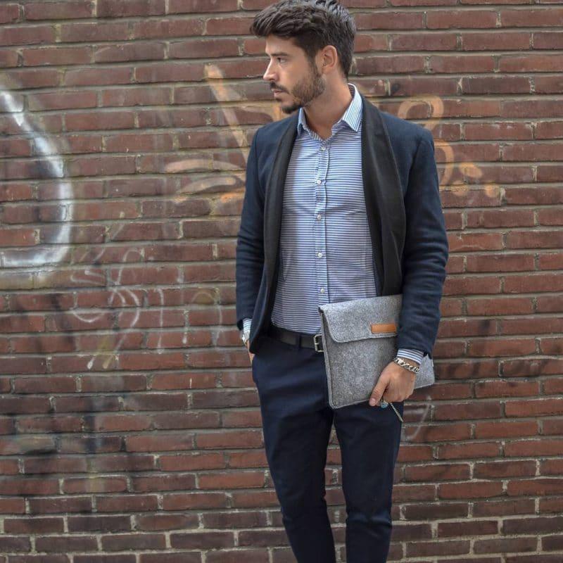 Horizontal pinstripe shirt, blazer, and blue dress pants