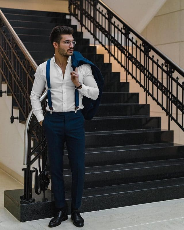 White shirt, blue suspender, blue dress pants and oxford leather shoes