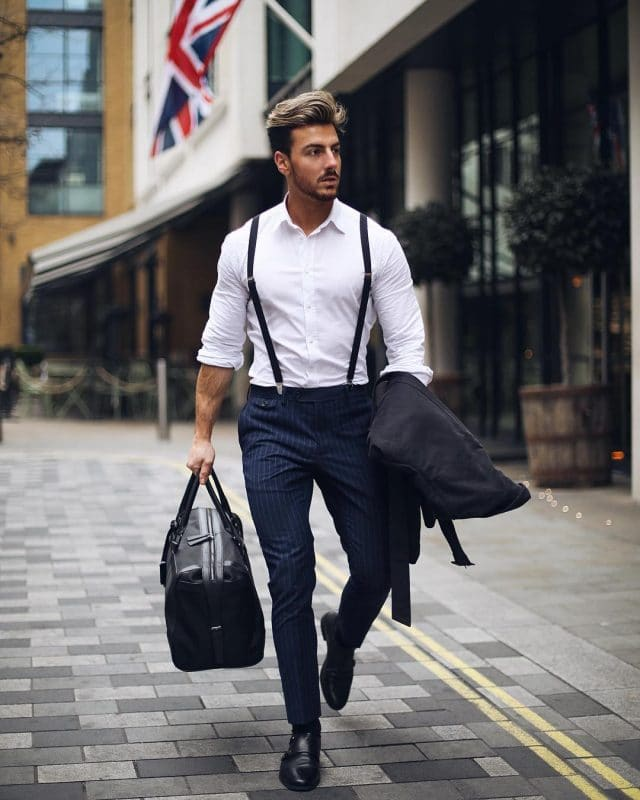 White shirt, suspender, blue pinstripe dress pants and double monk strap shoes
