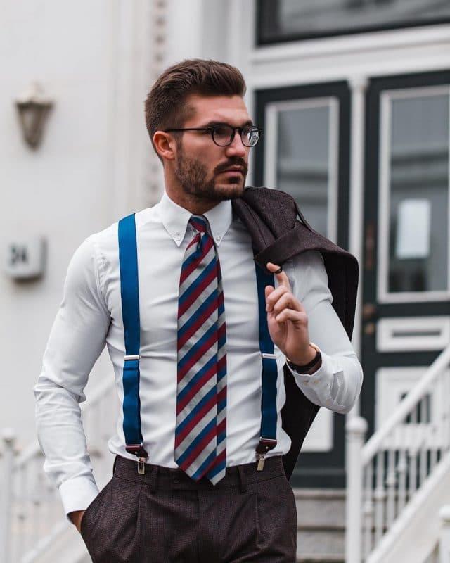 White shirt, striped tie, brown wool pants