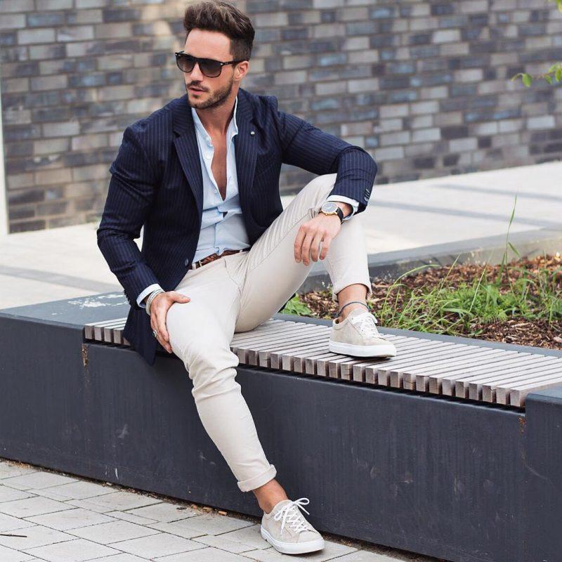 Blue pinstripe blazer, blue shirt, chinos, and sneaker
