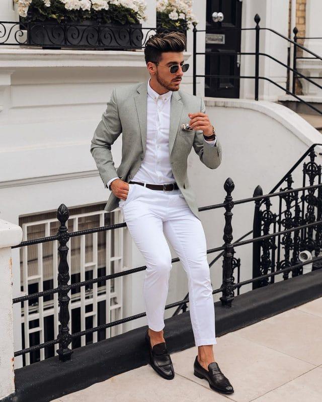 8de77a040aa4 55 Best Summer Business Attire Ideas for Men 2019. Tweet · Pin30. Share. 30  Shares. Light gray wool blazer, white shirt, white dress pants, and loafers