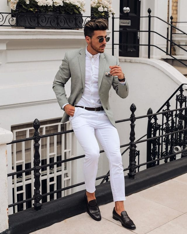 Light gray wool blazer, white shirt, white dress pants, and loafers
