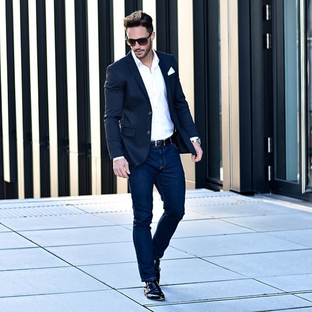 White shirt, blue suits, and double monk strap shoes
