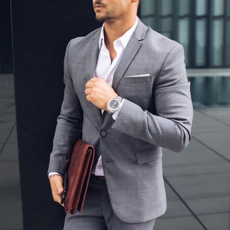 Wool blend suit, white shirt
