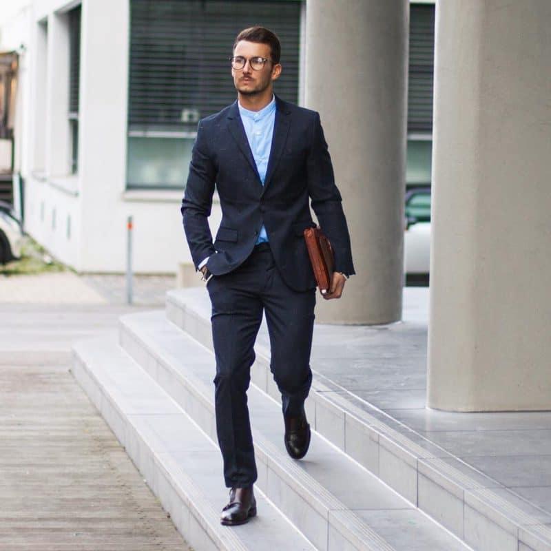 Mandarin collar blue shirt, dark blue shirt, and double monk strap shoes
