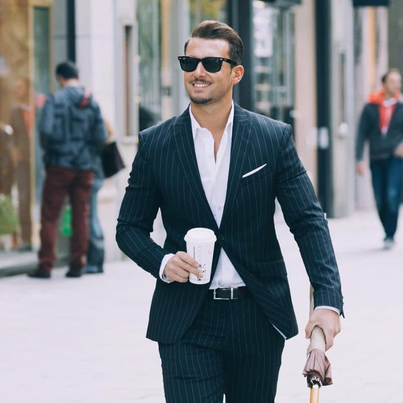 Pinstripe suit and white shirt