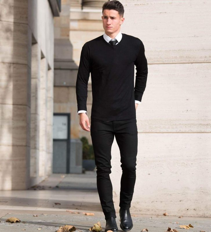 Sweater over shirt, black trousers 3