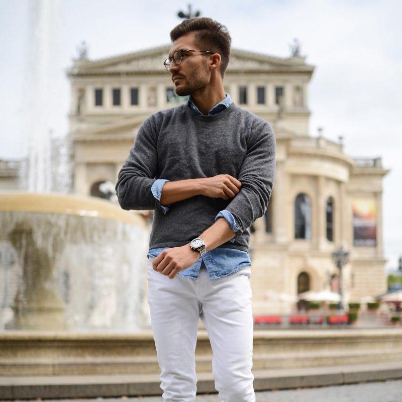 Sweater over shirt, white chinos 5