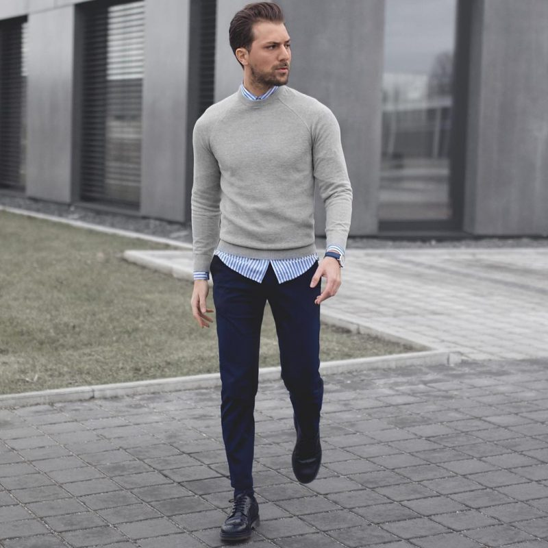 Sweater over shirt, blue trousers 8