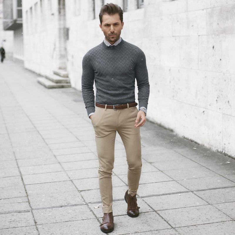 Sweater over shirt, brown chinos 10