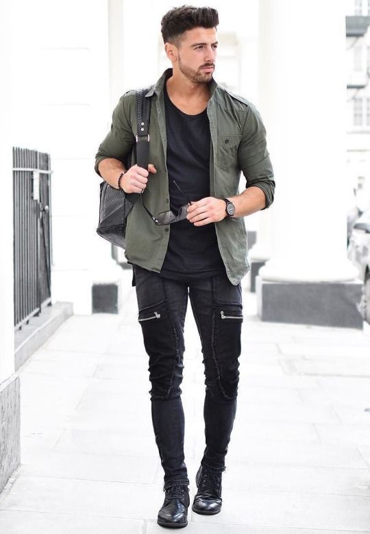 Overshirt over black tee, black jeans 12