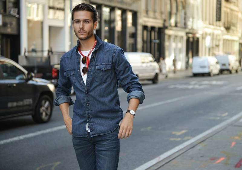 Overshirt over white tee, jeans 15