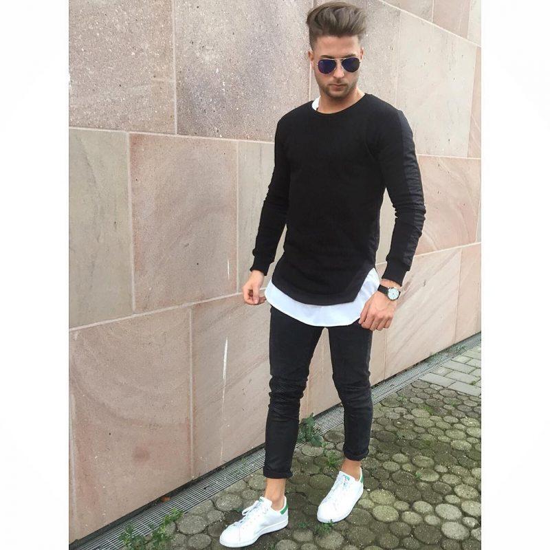 Tee over white tee, dark jeans 16
