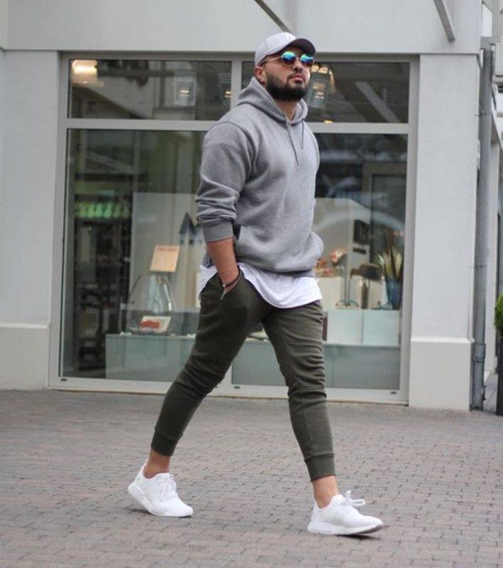 Sweatshirt over white tee, jogger pants 17