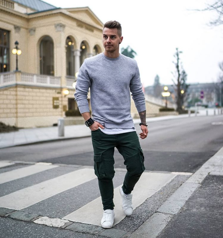 Sweater over white tee, green cargo pants 20