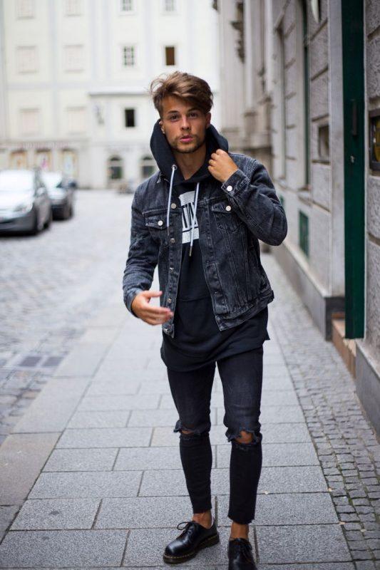 Denim jacket over hoodie sweatshirt, black ripped jeans 22