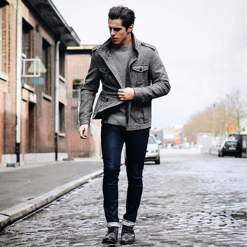 Overcoat over sweater, jeans 26