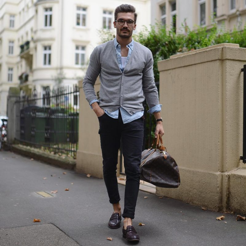 Cardigan over overshirt over singlet, jeans 33