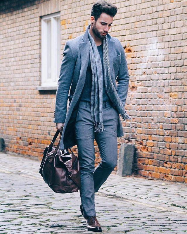 Long coat, wool dress pants, sweater, scarf 37