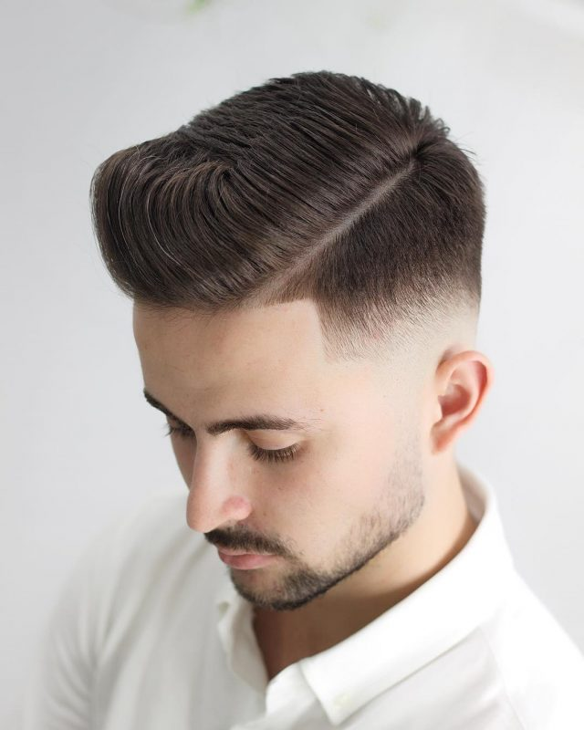Comb Over Side Part With Sharp Fade 1
