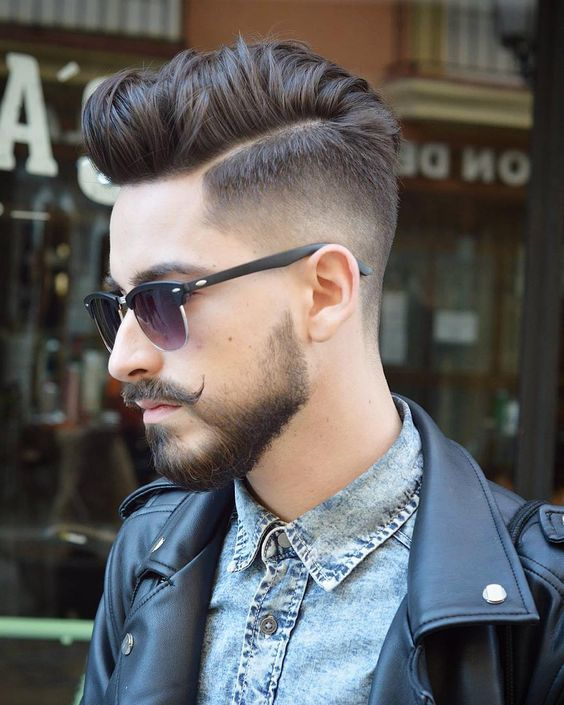 Side Part Pompadour + Taper Cut 1