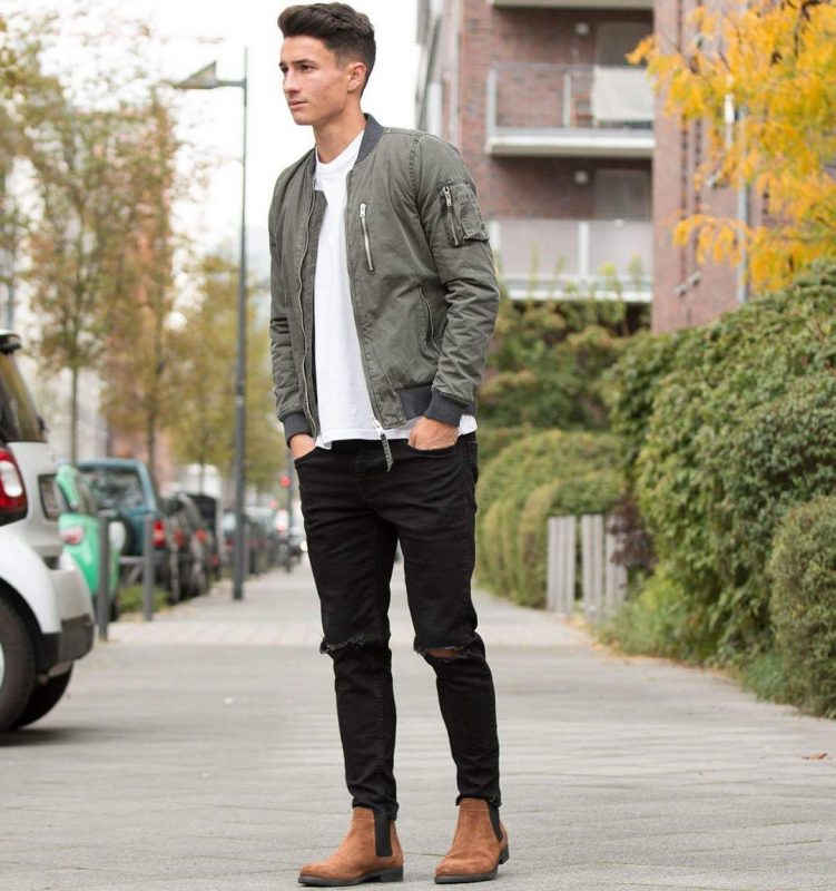 Bomber jacket, white tee, jeans, Chelsea boots