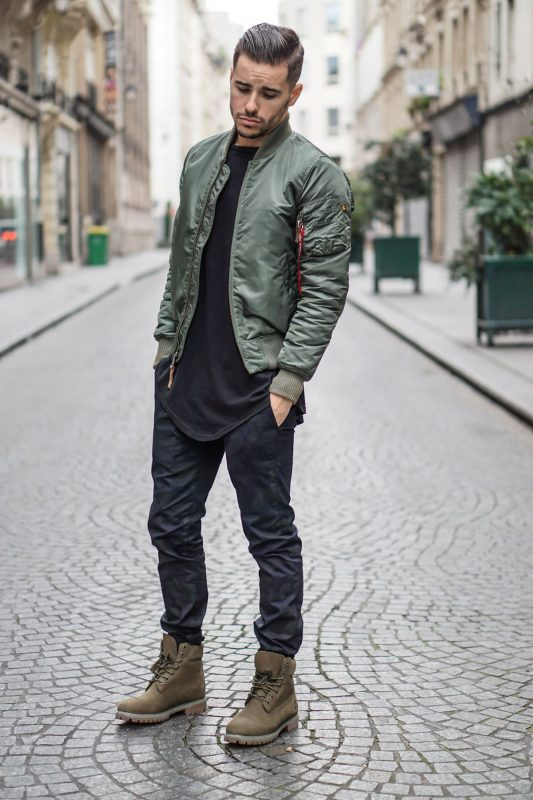 Bomber jacket, black tee, jeans, boots