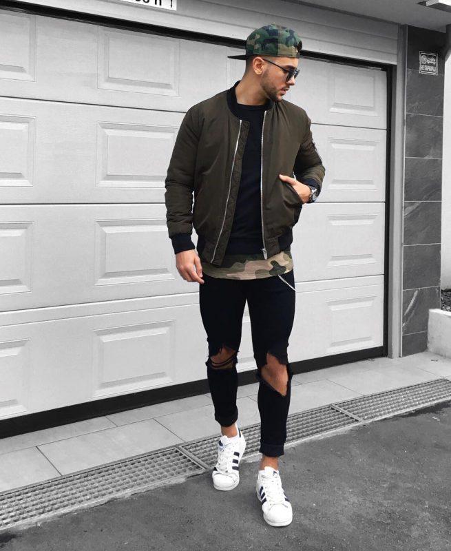 Bomber jacket, black tee, jeans, sneaker