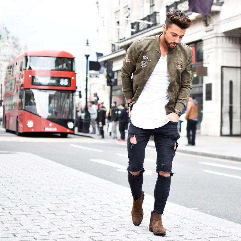 Suede bomber jacket, tee, jeans, Chelsea boots