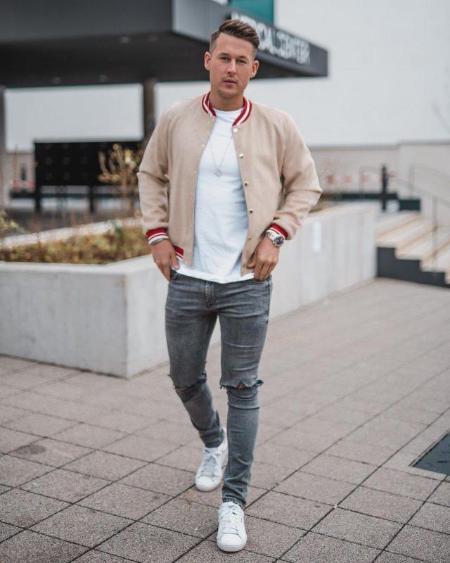 Bomber jacket, white tee, jeans, sneaker